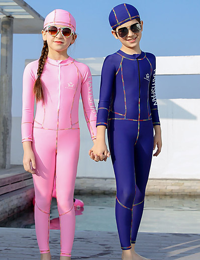 cheap SPORTSWEAR-QISEHAI Boys' Girls' Rash Guard Dive Skin Suit Diving Suit Thermal / Warm UV Sun Protection Full Body Front Zip - Swimming Diving Water Sports Patchwork Autumn / Fall Spring Summer / Stretchy / Kid's