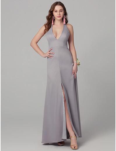 2126e28976 ADOR Sheath   Column Plunging Neck Floor Length Chiffon Bridesmaid Dress  with Split Front