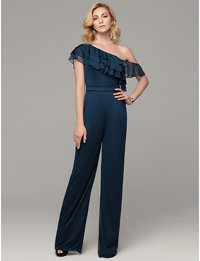 7359598c4a5 ADOR Evening Dress Jumpsuits One Shoulder Sweep   Brush Train Mesh Dress  with Cascading Ruffles