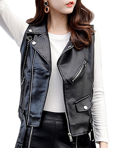 cheap OUTERWEAR-Women's Faux Leather Jacket Regular Solid Colored Party Black S M L / Slim