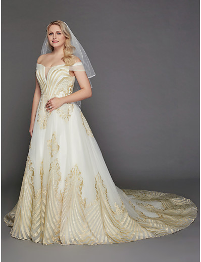 937060091 ADOR Princess Off Shoulder Chapel Train Lace / Tulle Made-To-Measure  Wedding Dresses with Lace