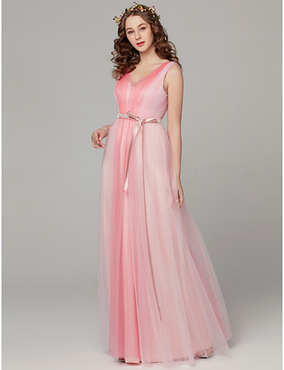 20a36f1e9ce ADOR Sheath   Column V Neck Floor Length Tulle Bridesmaid Dress with Sash    Ribbon   Pleats   Color Block