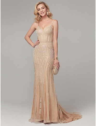 bc622fbe ADOR Evening Dress Mermaid / Trumpet Spaghetti Strap Sweep / Brush Train  Tulle Sparkle & Shine Dress with Beading