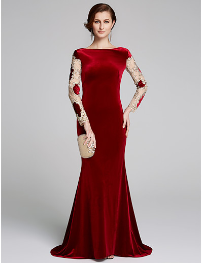 af0c91193a4 ADOR Mermaid   Trumpet Bateau Neck Sweep   Brush Train Velvet Mother of the Bride  Dress with Appliques
