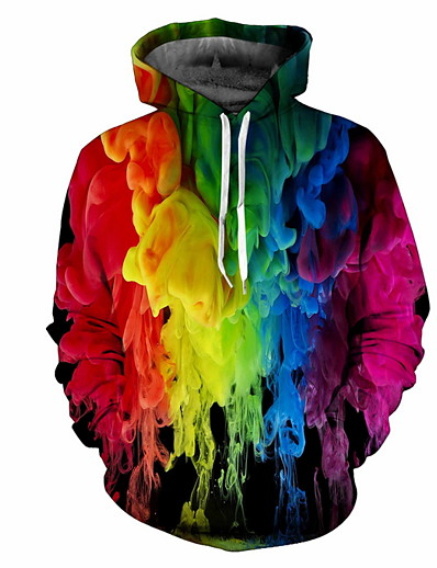 cheap Men's Tops-Men's Plus Size Hoodie Sweatshirt Hoodie Rainbow Hooded Casual Hoodies Sweatshirts  Rainbow / Fall / Winter