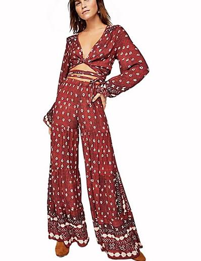 abordables Ensemble deux pièces-Femme Chic de Rue Rouge Combinaison-pantalon, Fleur Imprimé L XL XXL