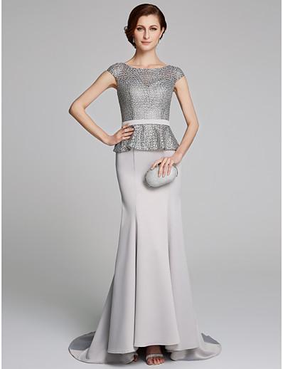6e9e9b4ce ADOR Sheath / Column Bateau Neck Court Train Chiffon / Lace Mother of the Bride  Dress with Lace
