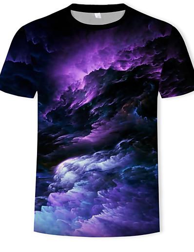cheap Men's 3D-Men's Galaxy Graphic T shirt Print Short Sleeve Casual Tops Basic Boho Round Neck Orange Green Rainbow / Summer