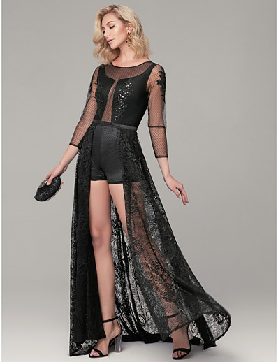 f76c48aa1ea ADOR Evening Dress Sheath   Column Jewel Neck Sweep   Brush Train Lace See  Through Dress with Appliques