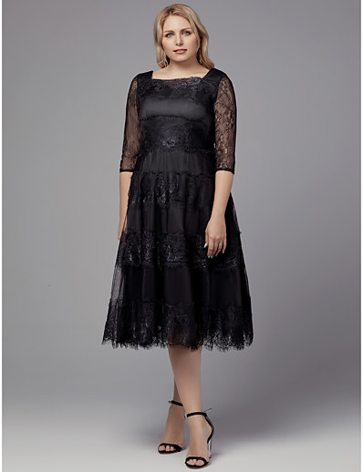 f2c1947f10d ADOR Cocktail Dress Plus Size A-Line Square Neck Tea Length Lace Dress with  Appliques