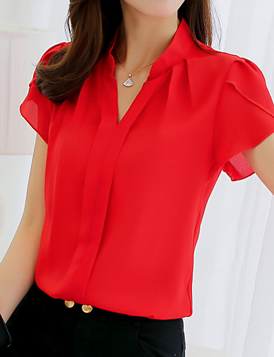 cheap Blouses & Shirts-Women's Blouse Shirt Solid Colored V Neck Standing Collar Tops Basic Top White Blue Red