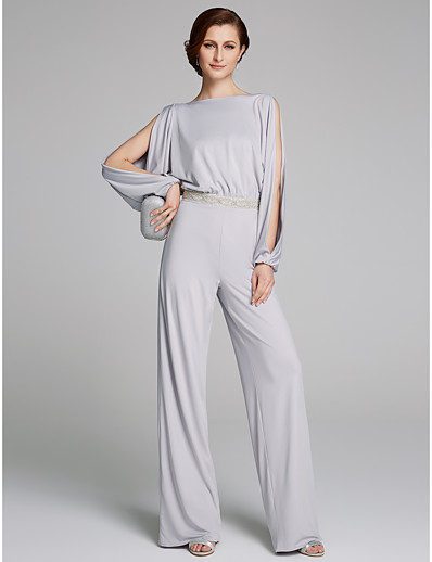 8aa6c17b540f ADOR Pantsuit / Jumpsuit Bateau Neck Floor Length Jersey Mother of the Bride  Dress with Beading