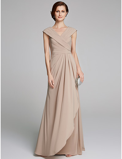 20d28e4c5d9 ADOR Sheath   Column V Neck Floor Length Jersey Mother of the Bride Dress  with Pleats