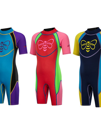 cheap SPORTSWEAR-Bluedive Boys' Girls' Shorty Wetsuit 2.5mm SCR Neoprene Diving Suit Thermal / Warm Quick Dry Anatomic Design Short Sleeve Back Zip - Diving Water Sports Patchwork Autumn / Fall Spring Summer / Winter