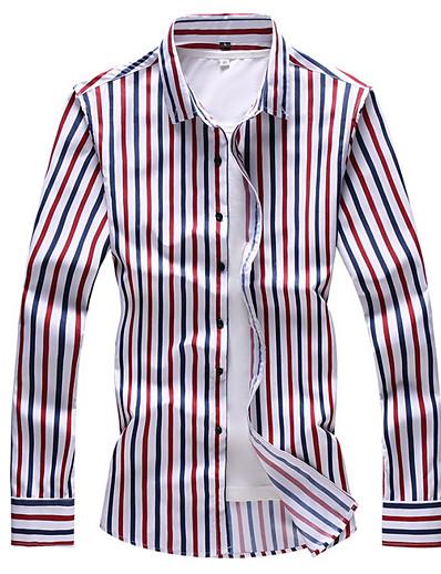 cheap Men's Clothing Sale-Men's Plus Size Shirt - Striped Light Blue
