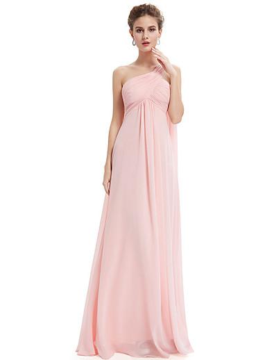 cheap WEDDING-A-Line Cross Front Floor Length Chiffon Bridesmaid Dress with Sash / Ribbon