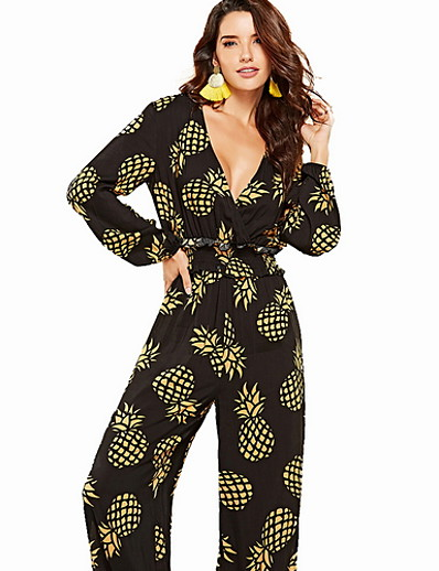 cheap Jumpsuits & Rompers-Women's Basic Deep V Black Jumpsuit, Fruit Print M L XL