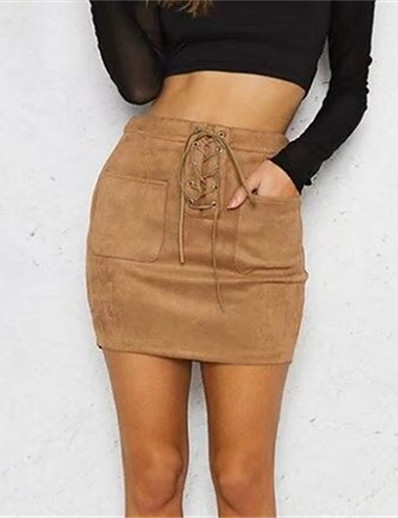 cheap CLOTHING-Women's Street chic Bodycon Skirts - Solid Colored Blushing Pink Yellow Khaki S M L