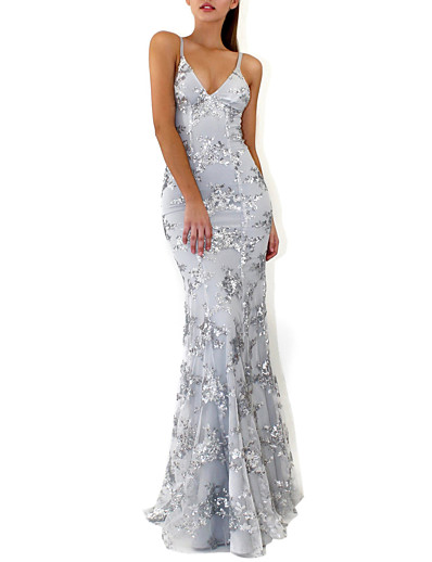 cheap Party Dresses-Mermaid / Trumpet V Neck Floor Length Crepe / Sequined Sparkle / Grey Prom / Formal Evening Dress with Sequin / Crystals 2020
