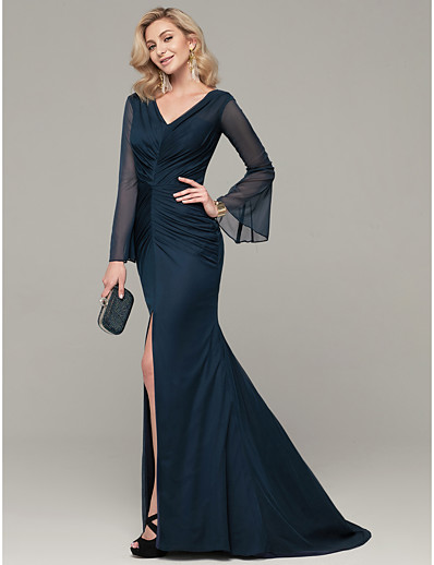 2b85739461c ADOR Evening Dress Mermaid   Trumpet V Neck Sweep   Brush Train Chiffon  Dress with Split Front