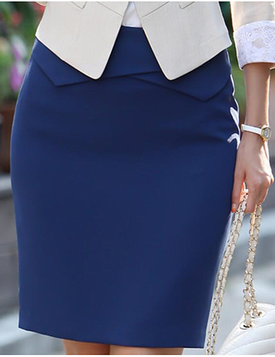 abordables Bas-Femme Chinoiserie Coton Moulante Jupes Couleur Pleine Noir Bleu Rose Claire / Mince