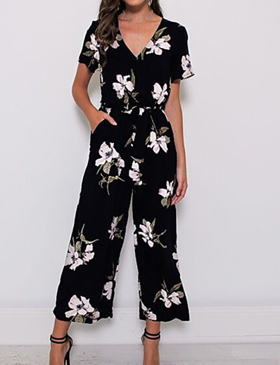 cheap JUMPSUITS & ROMPERS-Women's Casual / Daily / Beach V Neck Black Wine Navy Blue Wide Leg Jumpsuit Onesie, Floral Wide Leg / Print S M L
