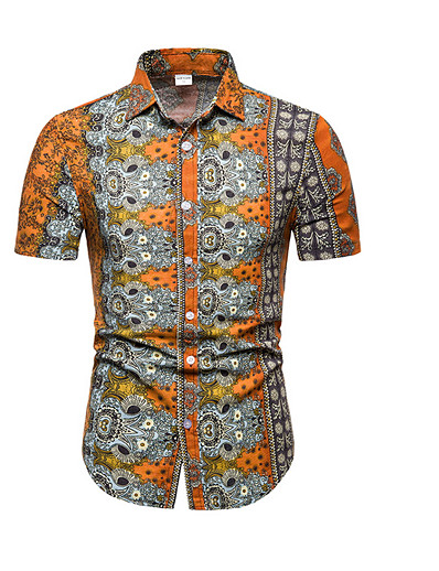 cheap Men's Clothing Sale-Men's Plus Size Shirt - Geometric Print Blue