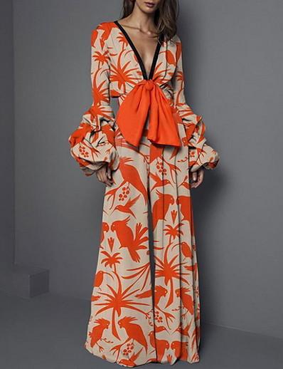 cheap Jumpsuits & Rompers-Women's Orange Jumpsuit Onesie, Floral S M L