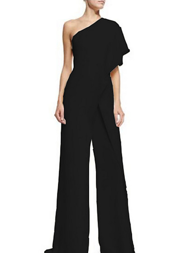 cheap Jumpsuits & Rompers-Women's Basic Party One Shoulder Wine White Black Jumpsuit Solid Colored Ruffle