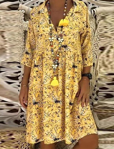 cheap Mother Dresses-Women's 2020 Yellow Red Dress Spring & Summer Holiday Beach A Line Loose Shift Shirt Collar Floral Print S M Loose Oversized