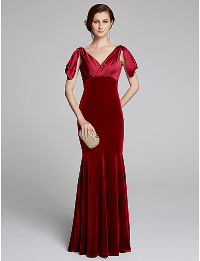 e4e9e3daeb ADOR Mermaid   Trumpet Plunging Neck Floor Length Satin   Velvet Mother of  the Bride Dress with Pleats