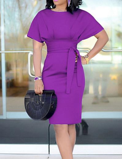 cheap Elegant Dresses-Women's Sheath Dress Knee Length Dress Black Purple Yellow Green Light Blue Short Sleeve Solid Colored Pure Color Fashion Round Neck Hot Elegant Kentucky Derby S M L XL XXL 3XL