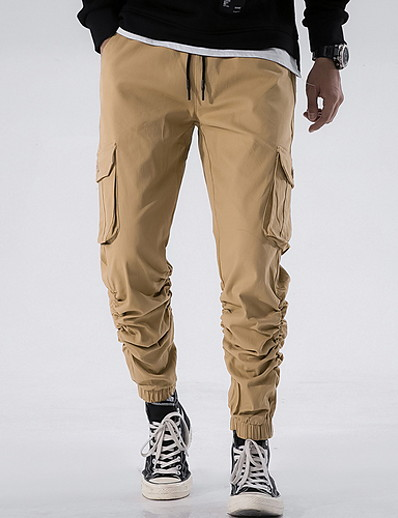 cheap FLASH SALE-Men's Basic Cargo Pants - Solid Colored Black Wine Light Brown 30 32 34