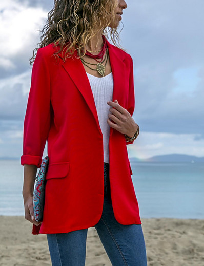 cheap Jackets & Blazers-Women's Blazer, Solid Colored Notch Lapel Polyester Blue / Black / Red