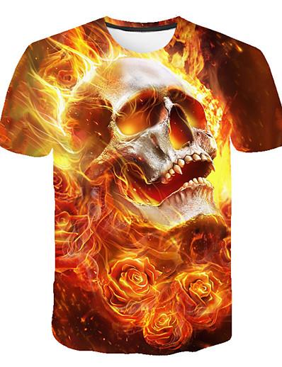 cheap Men's 3D-Men's T shirt Shirt Graphic Skull Print Short Sleeve Daily Tops Basic Streetwear Round Neck Yellow / Club