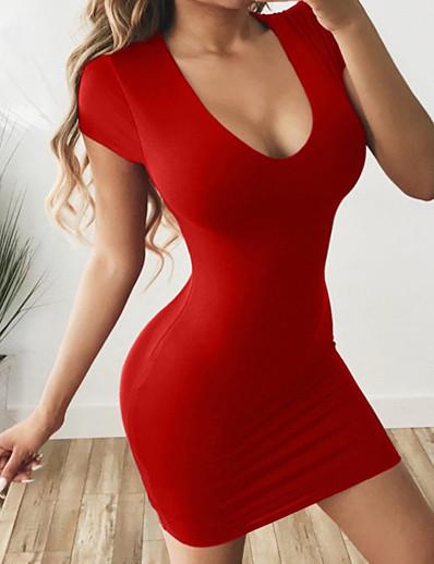 cheap Casual Dresses-Women's Sheath Dress Short Mini Dress - Short Sleeve Solid Colored U Neck Basic Slim Black Red Wine Royal Blue S M L XL XXL