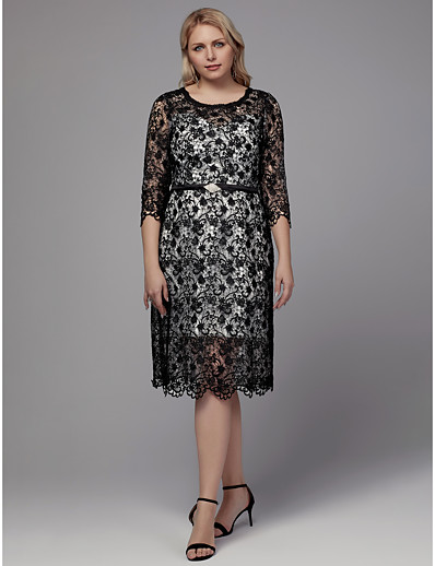 c087f8d4a0e ADOR Cocktail Dress Plus Size Sheath   Column Jewel Neck Tea Length Lace  Dress