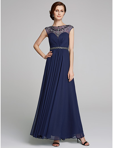 8c61655dc9a ADOR A-Line Jewel Neck Floor Length Chiffon Mother of the Bride Dress with  Beading   Sash   Ribbon