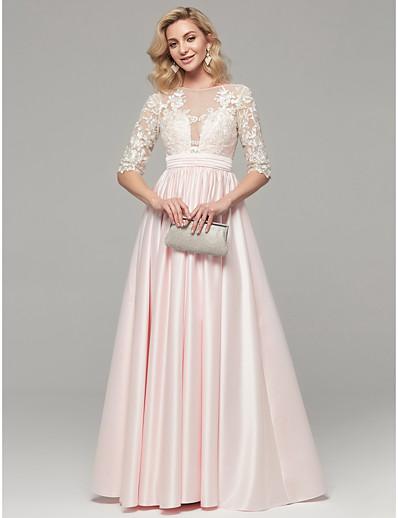 b8d38bfdad9 ADOR Evening Dress A-Line Illusion Neck Floor Length Lace Dress with  Appliques
