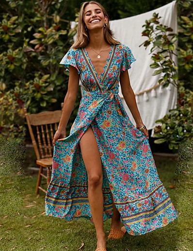 cheap Maxi Dresses-Women's Boho Swing Dress Red Pink Light Blue M L XL