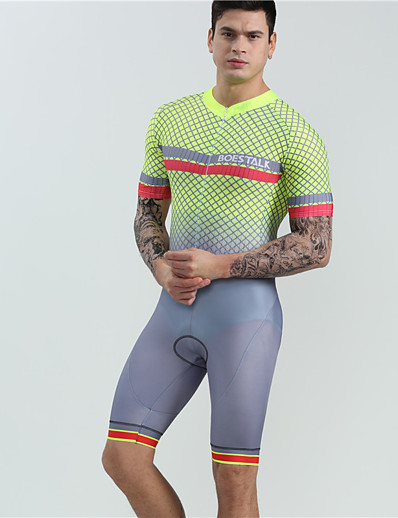 cheap Cycling-BOESTALK Men's Short Sleeve Cycling Jersey with Shorts Triathlon Tri Suit One Piece Swimsuit Summer Spandex Silver+Orange Plaid Checkered Bike Clothing Suit Quick Dry Breathable Reflective Strips