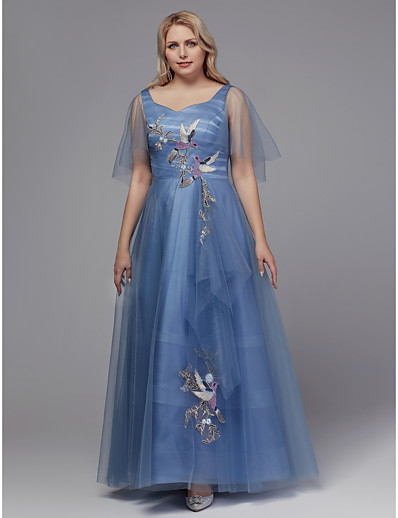 af991f8cc66 ADOR Prom Dress Plus Size A-Line Square Neck Floor Length Tulle Dress with  Embroidery   Pleats