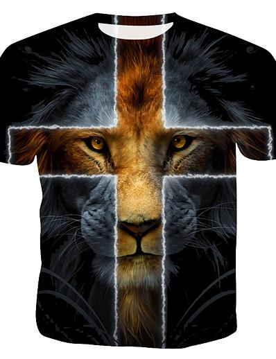 cheap Men's 3D-Men's T shirt Graphic Animal Print Tops Rainbow