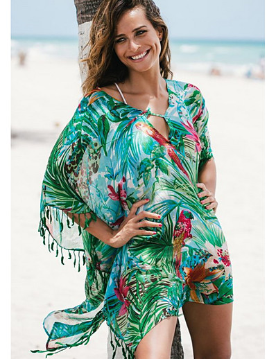 cheap Cover Ups-Women's Green Skirt Cover-Up Swimwear - Floral One-Size Green