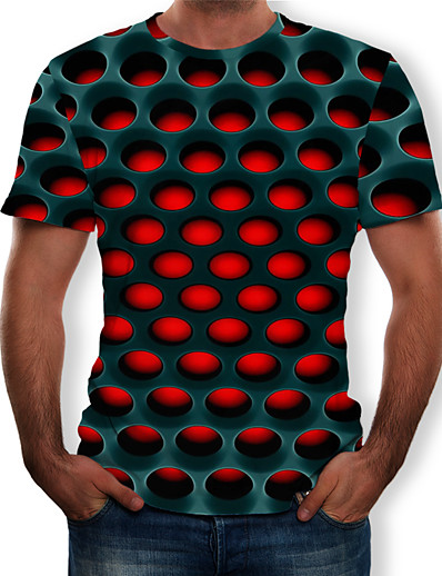 cheap Men's Clothing Sale-Men's Casual / Daily Plus Size Street chic / Exaggerated T-shirt - Geometric / 3D Print Round Neck Purple