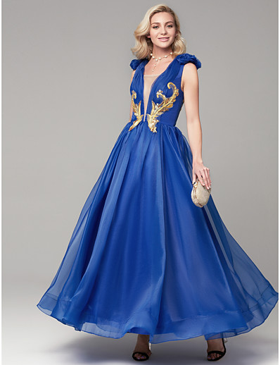 648ba101140 ADOR Evening Dress A-Line Plunging Neck Floor Length Organza   Satin Dress  with Appliques