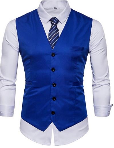 cheap Men's Clothing Sale-Men's Vest V Neck Polyester Black / Red / Khaki / Slim
