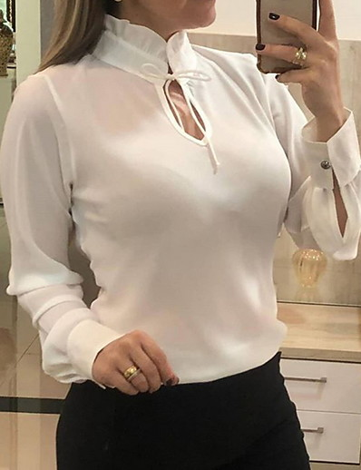 cheap TOPS-Women's Solid Colored Chiffon Fashion Hollow Slim Blouse Daily Wear White / Black / Blue / Red
