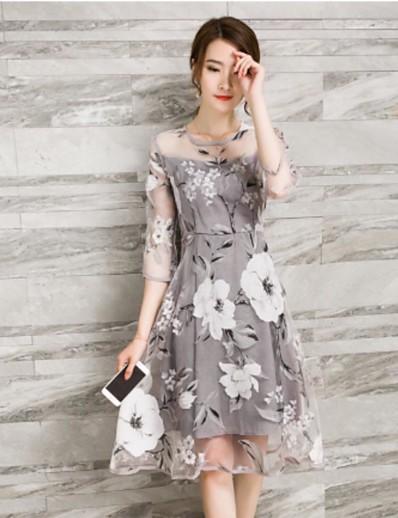 cheap Mother Dresses-Women's Daily Elegant A Line Skater Dress - Floral Gray L XL XXL