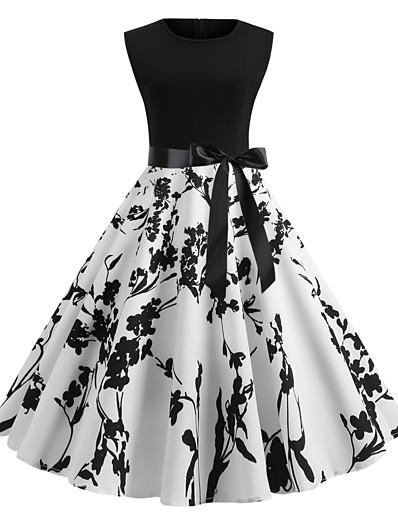 preiswerte Damenmäntel und Trenchcoats-Damen A Linie Kleid Weiß Ärmellos Blumen Druck Sommer Frühling Sommer Rundhalsausschnitt 50er Retro 2021 S M L XL XXL
